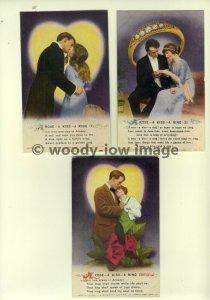 su1144 - A Rose A Kiss A Ring - Set of 3 Bamforth Songcards Postcards