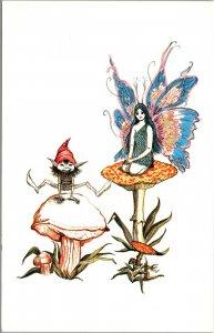 Vtg Blue Woodland Fairy Drawing from Artist Michael Jordan Cranford NJ Postcard