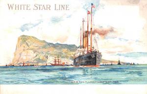 White Star Line Cunard Ship Post Card, Old Vintage Antique Postcard Cretic Le...