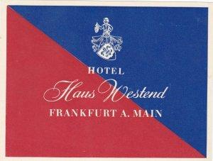 Germany Frankfurt am Main Hotel Haus Westend Vintage Luggage Label sk3039