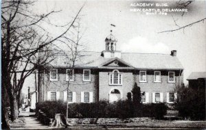 1940s New Castle DE Academy Building Postcard DO