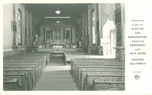 Vintage Ventura CA Postcard Mission San Buenaventura Interior Real Photo, Frashe