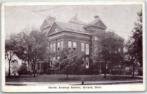 Girard, Ohio Postcard North Avenue School Building View Auburn PC c1920s
