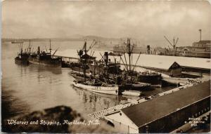 Wharves and Shipping Auckland NZ New Zealand Tanner Bros Smith RPPC Postcard E56