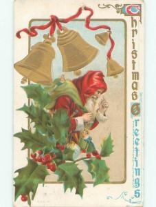 Pre-Linen christmas LONG ROBES SANTA WITH TOY SACK UNDER GOLDEN BELLS W7073