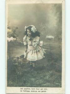 tinted rppc c1910 CUTE GIRL WITH HER BASKET AC9171