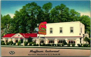 Aberdeen, Maryland Postcard MAYFLOWER RESTAURANT Route 40 Roadside Linen c1950s