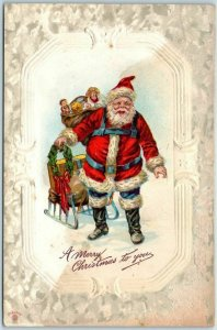 Vintage 1910s Christmas Postcard SANTA CLAUS w/ Toys, Wreath & Sled *Back Damage