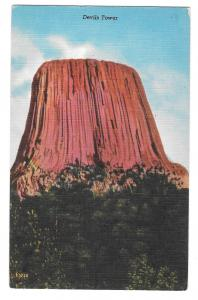 WY Black Hills Devils Tower Wyoming Vtg Rushmore Linen Postcard