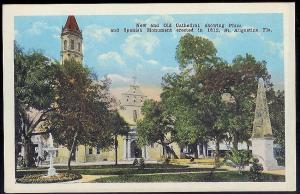 Plaza & Spanish Monument St Augustine FL unused c1915