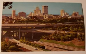 Vintage Postcard San Diego California Balboa Park skyline freeway old cars autos