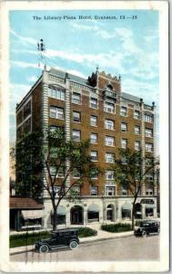 Evanston, Illinois Postcard The Library Plaza Hotel Street View 1925 Cancel
