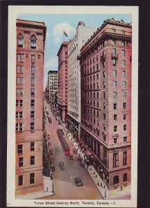 P1550 old unused postcard busy yonge street old cars trollies tronoto canada