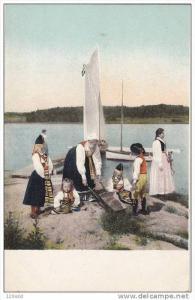 Sailboat, Dutch Family At Shoreline, Netherlands, 1900-1910s