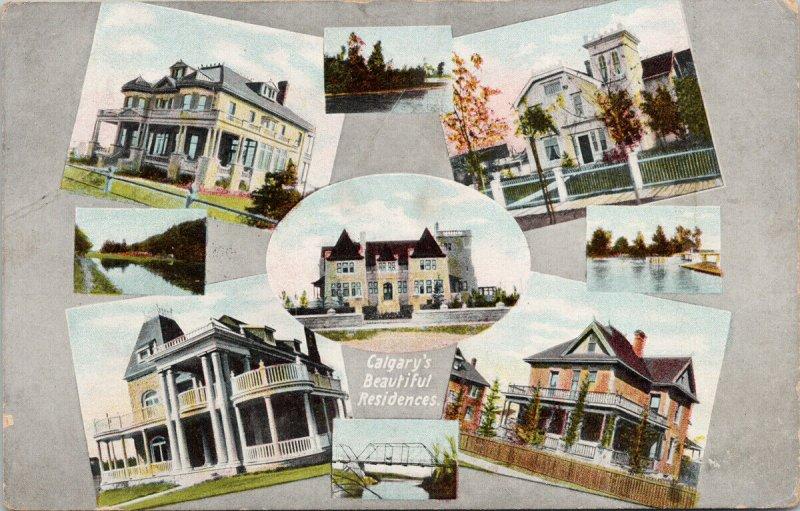 Calgary Alberta Beautiful Residences Multiview AB Alta c1909 Postcard F89