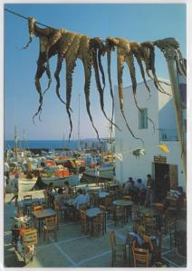 Greece Greek Outdoor Restaurant Octopuses on a Wire Scooter Toubis Postcard