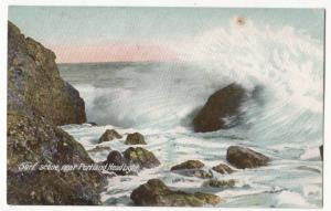 Surf scene, near Portland Head Light, 1909 used Postcard