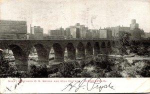 Minnesota Minneapolis Great Northern Railroad Bridge and Mill District 1909