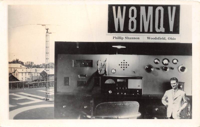 D17/ Woodsfield Ohio Postcard RPPC c40s Phillip Shannon Amatuer Radio QSL Card