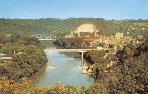 Frankfort Kentucky Panorama~Hilltop View of City~Bridges~1950s Postcard
