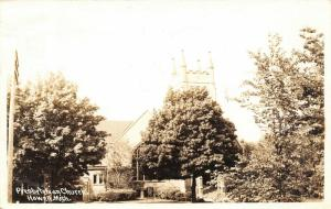 Howell Michigan~Bushy Tree Tries to Camouflage the Presbyterian Church~RPPC 1946