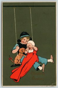 Big Brother & Baby Swing~Dachshund Rides~Red Ribbon Tail~Emboss~Meissner & Buch