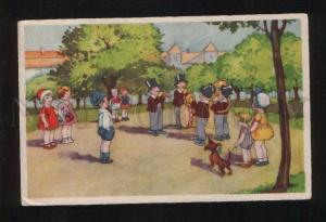 052792 Kid Funny Orchestra & DACHSHUND vintage PC