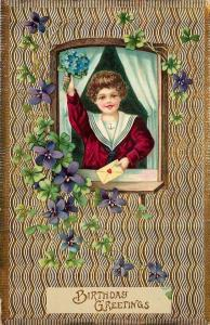 Girl In Window Portal Waves Bouquet~Gold Textured Back~Emb~GEL~Ser 8511 Germany