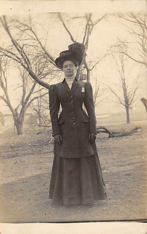 Lady wearing Hat Writing on back