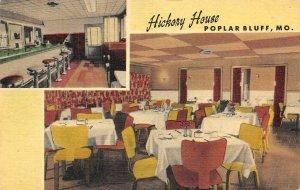 HICKORY HOUSE Poplar Bluff, MO Interiors Roadside c1940s Vintage Linen Postcard