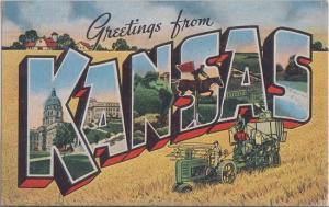 LARGE LETTERS - KANSAS 1940s era / Grain Machine + MORE in letters