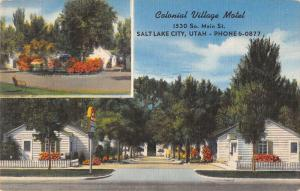 Salt Lake City Utah view of Colonial Village Motel linen antique pc Z22341