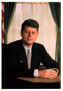 President John F Kennedy Black and White 1952 Oval Office Postcard