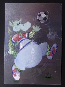 CARTOON DRAGON - THE FOOTBALL PLAYER c1985 by F J Warren DUFEX FOIL Postcard