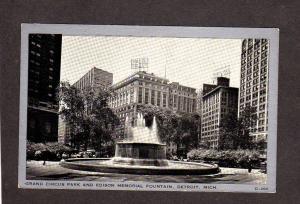 MI Grand Circus Park Edison Memorial Detroit Michigan Postcard Hotel Tuller