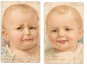 Happy New Year Baby Happy Sad 2 Vntg 1906 UDB German American Novelty Postcards