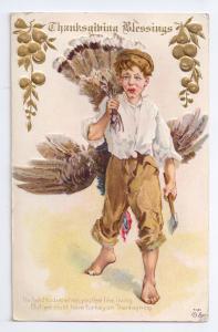 Thanksgiving Boy Ax Turkey Over Shoulder Nash Embossed 1910 Gold Gilded Pos