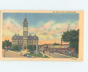 Linen CITY HALL SCENE Lowell - Near Boston Massachusetts MA AF2061