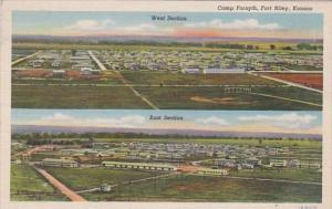 Kansas Fort Riley Camp Forsyth Aeral View East & West Section Curteich