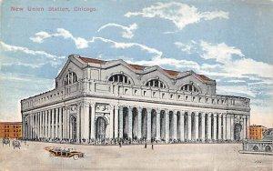 Chicago Train Postcard New Union Station Chicago, IL., USA PU Unknown