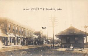 BISMARCK, MISSOURI MAIN STREET AND DEPOT-1911 RPPC REAL PHOTO POSTCARD