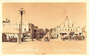 Caribou ME Tydol Gas Station Store Fronts Old Cars RPPC Postcard