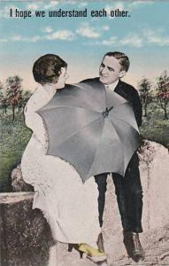 Romantic Couple With Umbrella I Hope We Understand Each Other