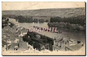 Old Postcard Panorama Mantes on the Seine