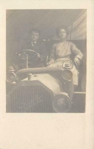 RPPC Couple in Old Automobile BUICK Vintage Car ca 1910s Antique Postcard