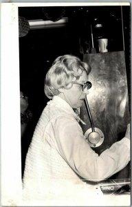 Las Vegas, Nevada RPPC Photo Postcard LADY LUCK CASINO Woman / Glasses / Slots
