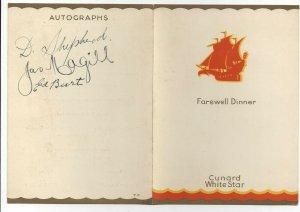 CUNARD WHITE STAR, 1936; R.M.S. ANTONIA, Farewell Dinner Menu