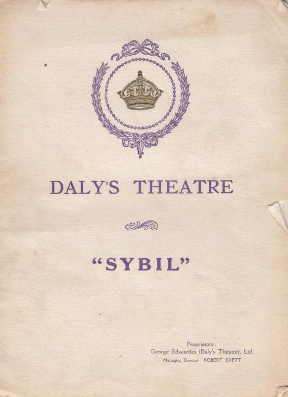 Sybil Harry Welchman Military Play Antique London Daly's Theatre Programme