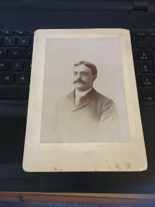 Vintage Cabinet Card Photo -  Man with Spiffy Mustache c. 1900 5x7
