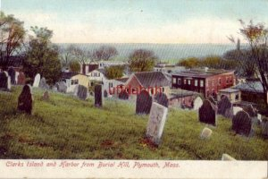 pre-1907 CLARKS ISLAND AND HARBOR FROM BURIAL HILL, PLYMOUTH, MA